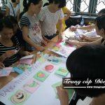 Sinh viên thực hành trong buổi học chuyên đề thực tế ngành Thư viện - Thiết bị trường học trường Trung cấp Đông Đô