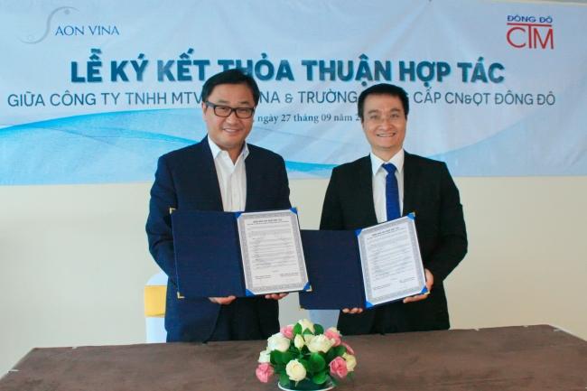 lễ ký kết hợp tác với Công ty TNHH MTV AON VINA của trường Trung cấp Đông Đô - Tuyển sinh Đông Đô