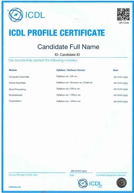 mẫu chứng chỉ tin học quốc tế ICDL được cấp